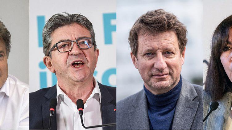 De gauche à droite :Jean-Luc Mélenchon (La France insoumise), Yannick Jadot (Europe Ecologie-Les Verts) et Anne Hidalgo (Parti socialiste). (OLIVIER CORET / SIPA - ERIC FEFERBERG / AFP - BAPTISTE ROMAN / HANS LUCAS - JACQUES WITT / AFP)