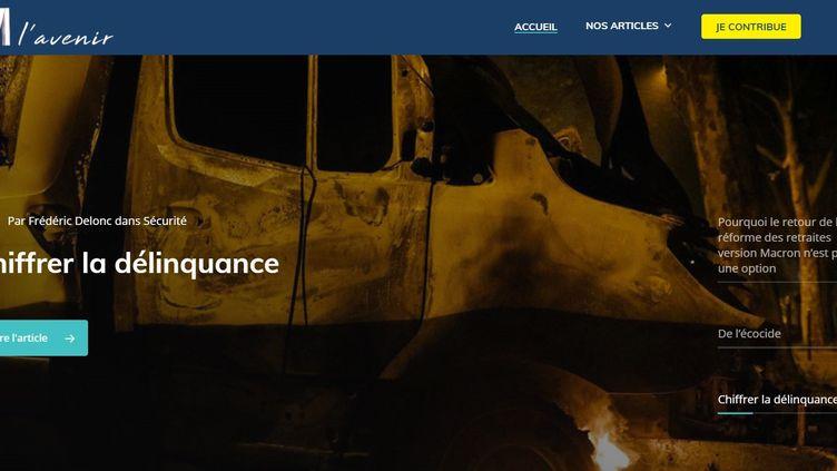 """Capture d'écran du site """"M l'avenir"""", annoncé par Marine Le Pen le 25 janvier 2021. (RASSEMBLEMENT NATIONAL)"""
