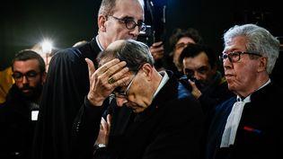 L'archevêque de Lyon, le cardinal Philippe Barbarin, a été condamné à six mois de prison avec sursis. Il a depuis annoncé son intention dedémissionner. (JEFF PACHOUD / AFP)