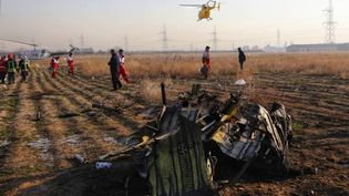 Des équipes de secouristes du Croissant-Rouge iranien fouillent un terrain vague parmi des débris éparpillés après le crash d'un Boeing d'une compagnie ukrainienne, le 8 janvier 2020, près de Téhéran. (IRANIAN RED CRESCENT SOCIETY / AFP)