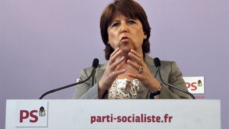 Martine Aubry donne une conférence de presse au siège, le 17 mai 2011 (AFP - Michel Euler)