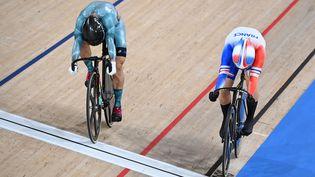 Mathilde Gros, battue en 8e de finale de la vitesse individuelle des Jeux olympiques de Tokyo. (GREG BAKER / AFP)