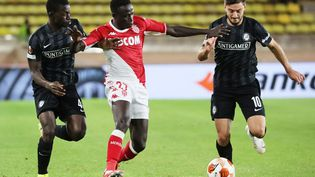 Le Monégasque Krépin Diatta a ouvert le score contre Sturm Graz, jeudi 16 septembre 2021. (VALERY HACHE / AFP)