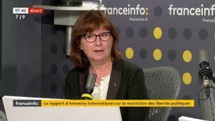 Cécile Coudriou, présidente d'Amnesty International, sur franceinfo le 29 septembre 2020. (FRANCEINFO / RADIOFRANCE)