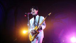 Prince, le 11 octobre 2009 sur la scène du Grand Palais, à Paris. (BERTRAND GUAY / AFP)