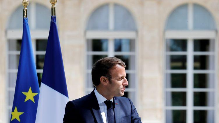 Emmanuel Macron à l'Elysée, le 29 juin 2020. (CHRISTIAN HARTMANN / AFP)