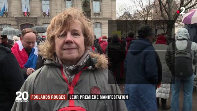 """""""Foulards rouges"""" : les premiers manifestants dans Paris"""