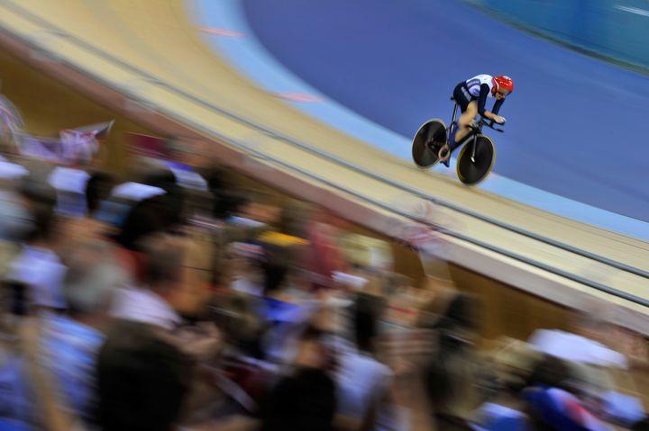 La cycliste sur piste britanniqueSarah Storey lors de la finale du contre-la-montre dames, le 1er septembre 2012. (GLYN KIRK / AFP)