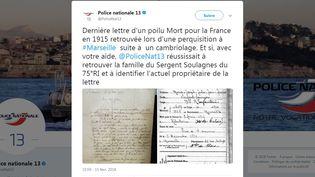 Capture d'écran du compte Twitter de la police nationale des Bouches-du-Rhône. (TWITTER)