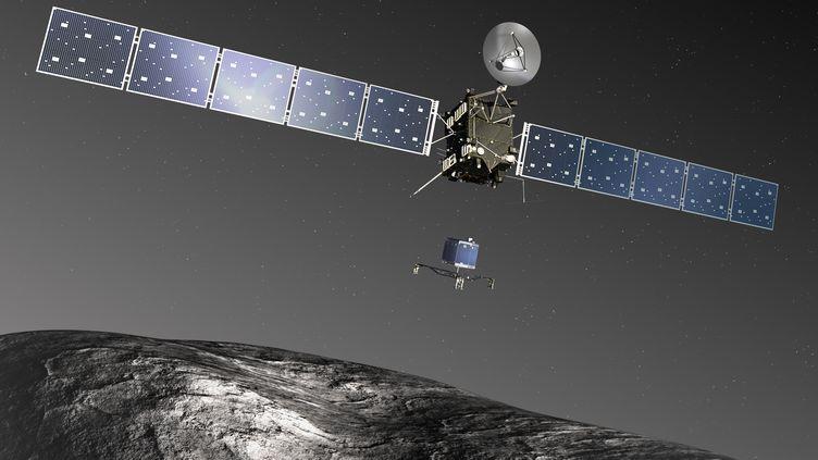 Modélisation du lancement du module Philae depuis la sonde européenne Rosetta, avant son atterrissage sur la comète Tchouri, en novembre 2014. (ESA)