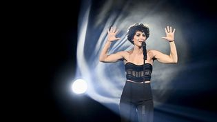 Barbara Pravi, lors de la répétition générale du concours de l'Eurovision, à Rotterdam (Pays-Bas), le 19 mai 2021. (PATRICK VAN EMST / ANP)