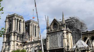 Travaux de sécurisation à la cathédrale Notre-Dame de Paris, le 10 mai 2019. (BERTRAND GUAY / AFP)