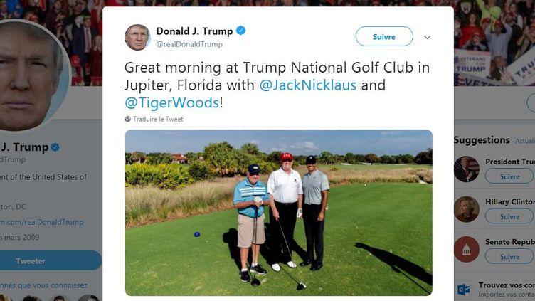Le président américain a posté une photo de lui jouant au golf avecTiger Woods et Jack Nicklaus, samedi 2 février 2019. (DONALD TRUMP / TWITTER)