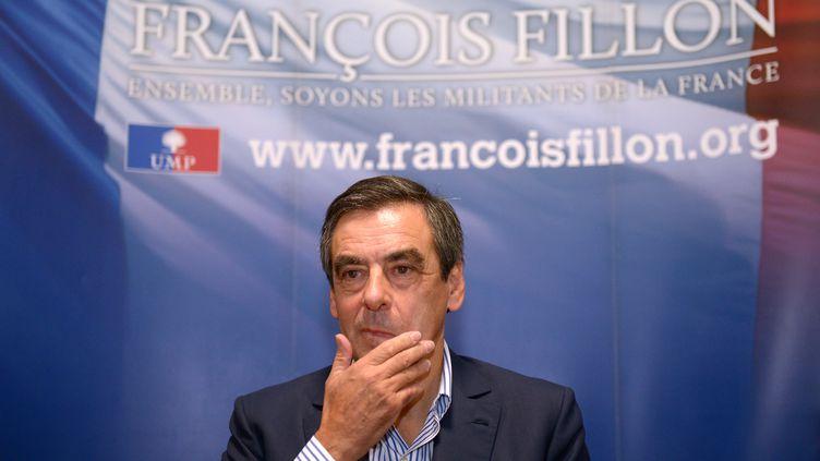 L'ex-Premier ministre et candidat à la présidence de l'UMPFrançois Fillon en meeting à Rennes (Ille-et-Vilaine), le 29 septembre 2012. (DAMIEN MEYER / AFP)
