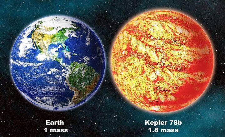 Comparaison de la Terre et de l'exoplanète Kepler 78b, située dans la constellation du Cygne. (DAVID A. AGUILAR / AP / SIPA)