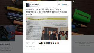 Une professeure dans un lycée professionnelle s'indigne, sur Twitter, de la mention du site Fdesouche dans un manuel d'éducation civique, le 5 septembre 2016. (TWITTER)