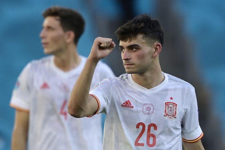 Pedri contre la Slovaquie, le 23 juin 2021. (JAVIER SORIANO / AFP)