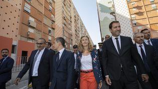 Plusieurs membres du gouvernement, dont les ministres de l'Intérieur et de la Justice, en déplacement à Marseille pour dévoiler le nouveau plan de lutte contre les stupéfiants. (SPEICH FREDERIC / MAXPPP MAXPPP)