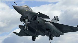 Un avion de combat français, de type Rafale, sur le point de se poser sur le porte-avion Charles de Gaulle, le 10 février 2020. (MARIO GOLDMAN / AFP)