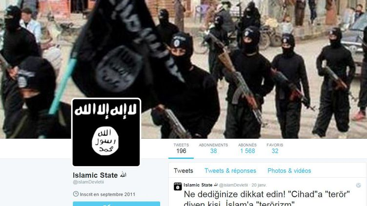 Capture d'écran d'un compte Twitter lié à l'Etat islamique. (TWITTER / FRANCETV INFO)