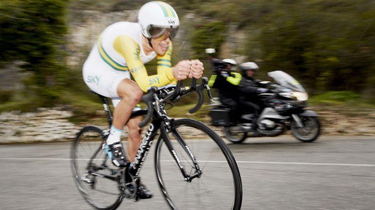 L'Australien Richie Porte a remporté le contre-la-montre en côte du col d'Eze et le général de Paris-Nice dimanche 15 mars. (DIRK WAEM / BELGA MAG)