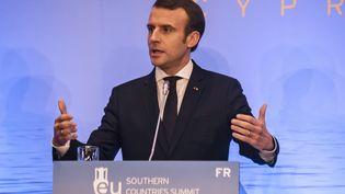 Emmanuel Macron, le 29 janvier 2019 à Nicosie (Chypre). (IAKOVOS HATZISTAVROU / AFP)