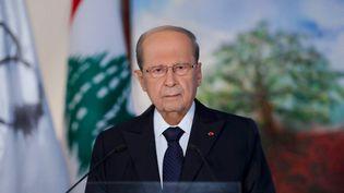 Le président du Liban, Michel Aoun, lors d'un discours télévisé, le 30 août 2020. (STRINGER / DALATI AND NOHRA / AFP)