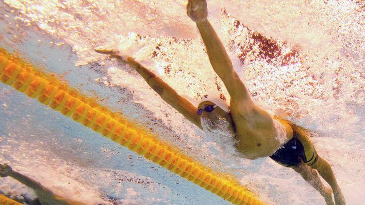 La photo montre le danois Viktor Bromer lors de la finale hommes du 200 m papillon, aux 32e championnats d'Europe de natation à Berlin, le 21 août 2014. (DAMIEN MEYER / AFP)