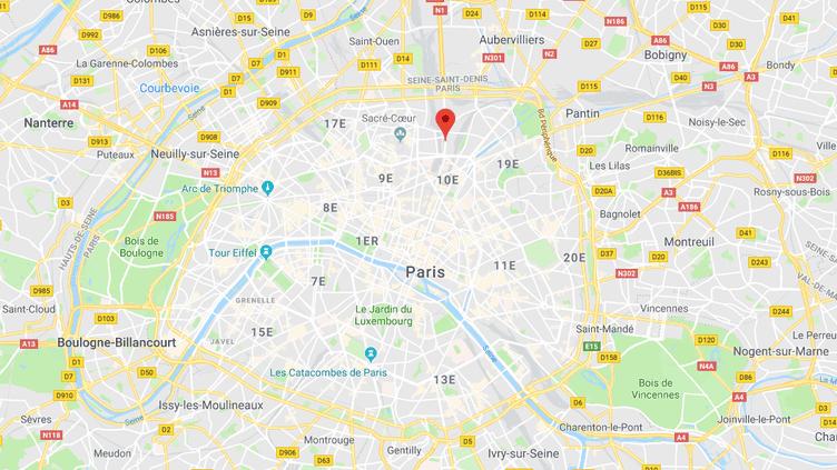 La rue Marx-Dormoy se trouve dans le 18e arrondissement, dans le nord de Paris. (GOOGLE MAPS / FRANCEINFO)