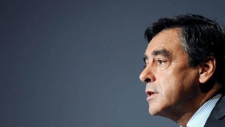 Le Premier ministre, François Fillon, lors du congrès des maires de Haute-Savoie, à Morzine, le 5 novembre 2011. (JEAN-PIERRE CLATOT / AFP)