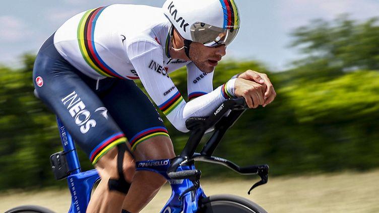 Filippo Ganna a remporté la dernière étape du Giro 2021. (LUCA BETTINI / AFP)