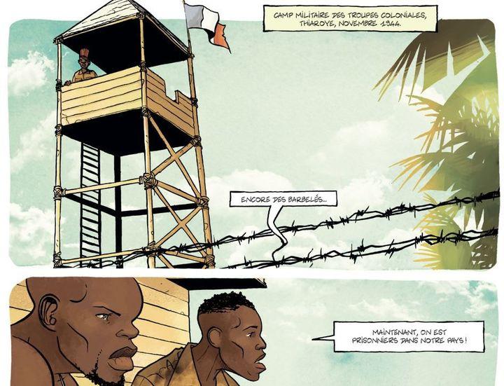 Les tirailleurs de retour en Afrique sont regroupés dans un camp, à Thiaroye. (Perna/Otero/Ed. Les Arènes)