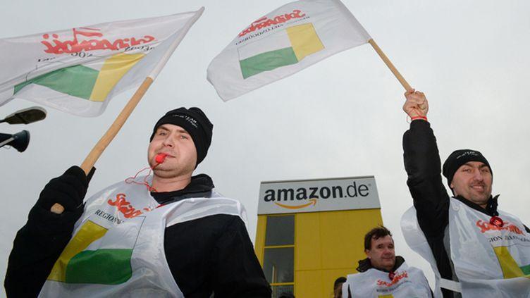 (Les salariés de l'entrepôt Amazon de Leipzig en Allemagne ont fait grève pour réclamer de meilleurs salaires. © MaxPPP)