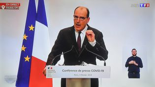 Conférence de presse de Jean Castex , Premier ministre, sur le Covid-19 à Paris, le 4 février 2021.   (CLEMENTZ MICHEL / MAXPPP)