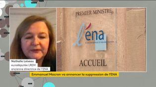Nathalie Loiseau, eurodéputée LREM et ancienne directrice de l'ENA, le 8 avril 2021 sur franceinfo. (CAPTURE ECRAN / FRANCEINFO)