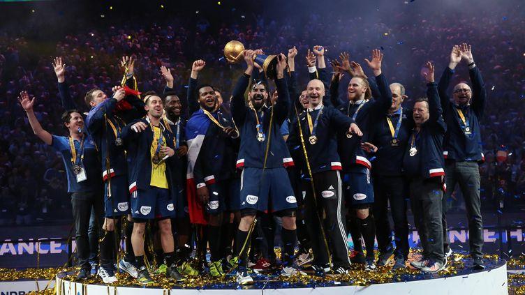 L'équipe de France de Handball le jour de sa victoire en championnat du monde le 29 janvier 2017. (?THIERRY LARRET / MAXPPP)