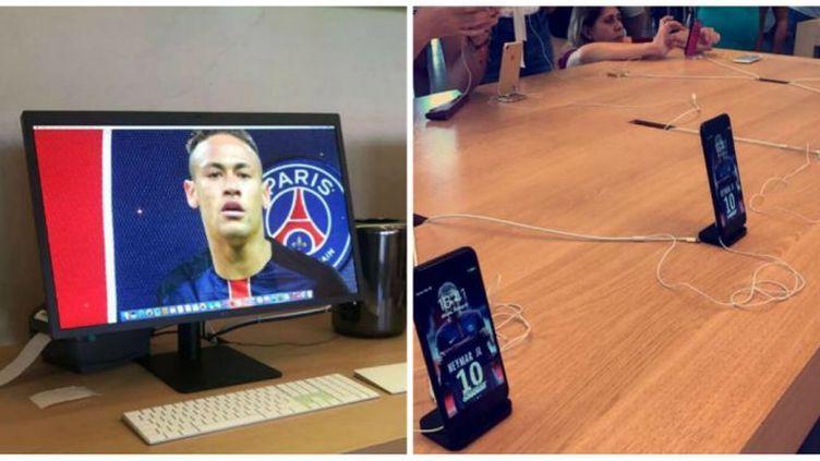 Le Brésilien du PSG, Neymar, affiché sur tous les écrans de l'Apple Store de Barcelone.