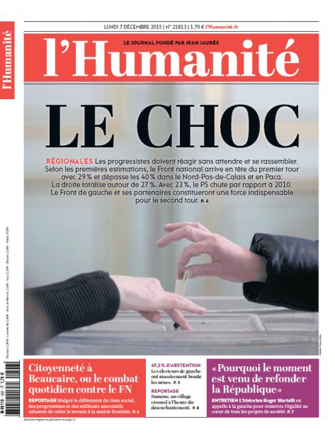 """Une du journal """"L'Humanité"""" daté du 7 décembre 2015. (L'HUMANITE)"""