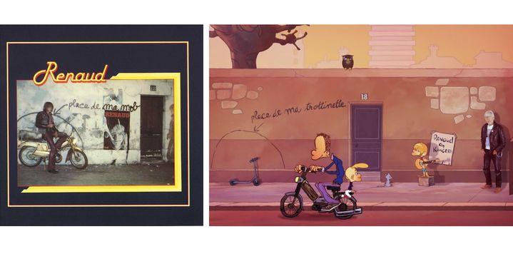 "A gauche la pochette de l'album de 1978, à droite l'image de fin du clip""Les Animals"" (Polydor / Zep & David Garcia)"