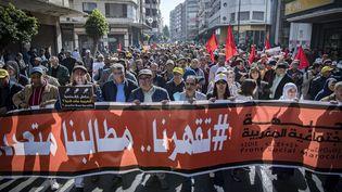 Manifestation contre la pauvreté et la situation économique, organisée à Casablanca par le Front social marocain, le 23 février 2020. (FADEL SENNA / AFP)
