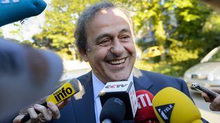 Michel Platini à Lausanne (Suisse), le 29 avril 2016. (FABRICE COFFRINI / AFP)