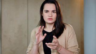 L'opposante biélorusse Svetlana Tikhanovskaïa, le 28 septembre 2020 à Vilnius, en Lituanie. (LUDOVIC MARIN / AFP)