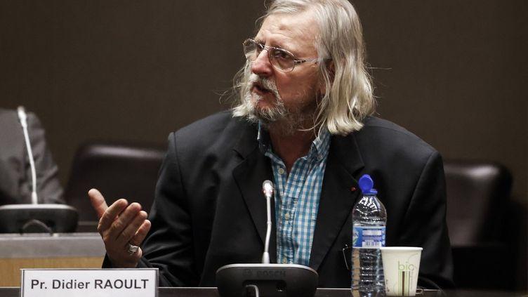 Le professeur Didier Raoult s'exprime devant la commission d'enquête de l'Assemblée nationale sur la gestion de la crise du coronavirus, le 24 juin 2020. (THOMAS COEX / AFP)
