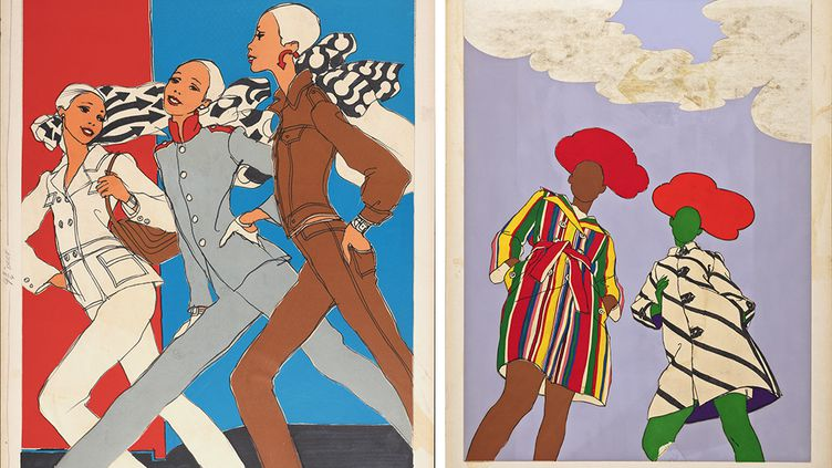 Illustrations pour l'expositionAntonioLopez, une écriture visionnaire au Centre d'Art de Campredon : The Pants Uniform, Fashions of the Times/The New York Times Magazine, 1966 (à gauche) et Stripes, Fashions of the Times/The New York Times Magazine, 1966. (Antonio Lopez)