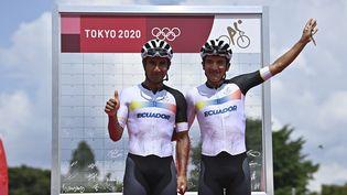 Richard Carapaz (avant le départ de la course) est devenu champion olympique de cyclisme, le 24 juillet 2021 à Tokyo. (BEN STANSALL / AFP)