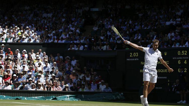 Richard Gasquet en demi-finale de Wimbledon le 10 juillet 2015 face à Novak Djokovic après avoir écarté Grigor Dimitrov, Nick Kyrgios et Stanislas Wawrinka. (ADRIAN DENNIS / AFP)