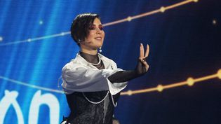 La chanteuse Maruv a renoncé à représenter l'Ukraine à la prochaine édition de l'Eurovision, imitée par la suite par trois autres groupes. La voici lors du concours national à Kiev, le 23 fébrier 2019  (STR / NurPhoto / AFP)