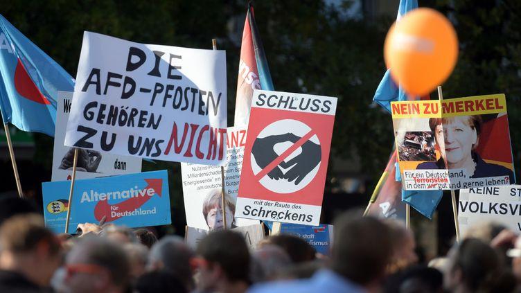 Heurts entre militants de la CDU, le parti d'Angela Merkel, et militants de l'AFD, Alternative für Deutschland, parti populiste, dans le Bade-Wurtemberg pendant la campagne pour les élections législatives en septembre 2017 (MAXPPP)