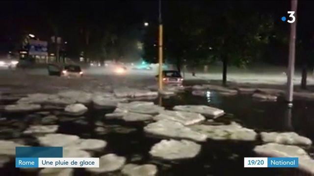 Rome : les rues frappées par une pluie de grêle