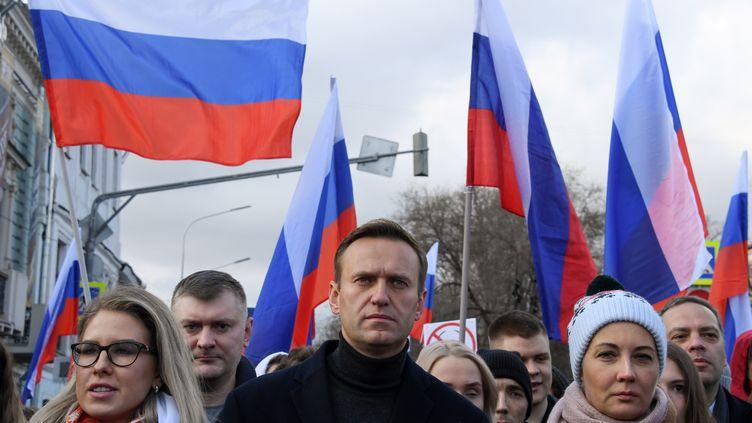 L'opposant russe Alexeï Navalny lors d'une manifestation en mémoire de Boris Nemtsov, le 29 février 2020 à Moscou. (KIRILL KUDRYAVTSEV / AFP)